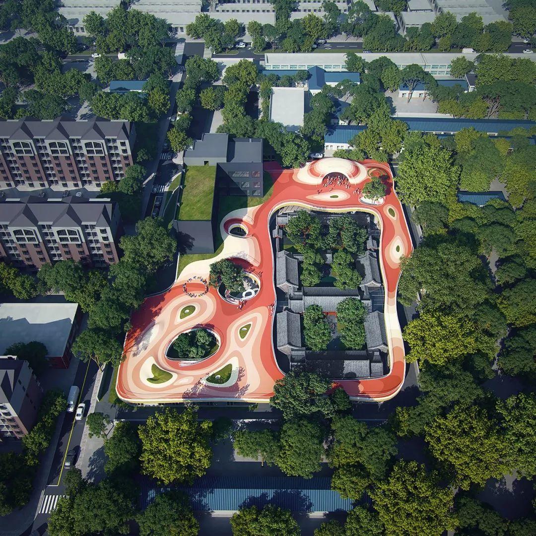 """AD:MAD为北京四合院幼儿园设计漂浮屋顶,孩子们可以""""上房揭瓦""""啦-BlueDotCC, 蓝点文化创意"""